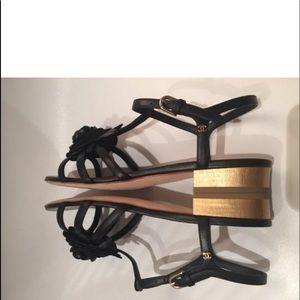 Authentic Camellia Leather CC Ankle Strap Sandals